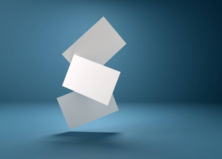 3d illustration. Three business cards in space, for branding with shadows, on a blue background.