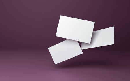 Three white business cards on a burgundy background in space. 3d template for design visualization. Zdjęcie Seryjne
