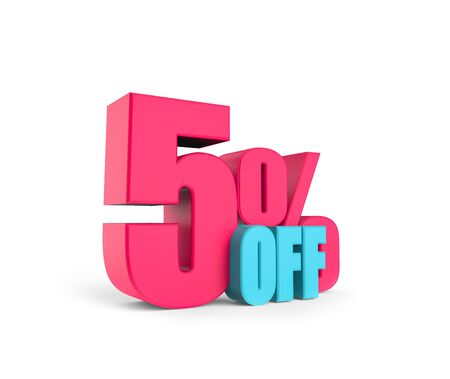 3D sign 5 percent off. Render. Pink bright numbers on a white background. Isolated