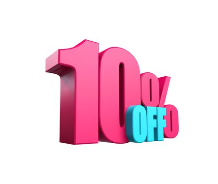 Bright pink, voluminous 3D inscription: 10% OFF, isolated on white background. Element for design discounts, design, sales, web. 3d render