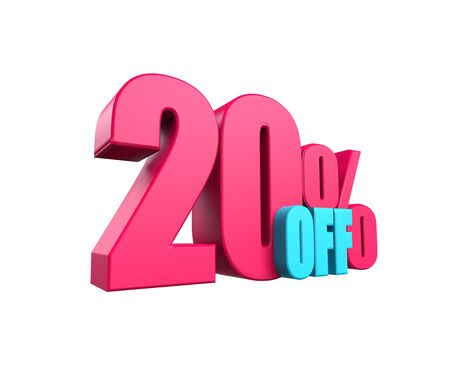 Bright pink, voluminous 3D inscription: 50% OFF, isolated on white background. Element for design discounts, design, sales, web. 3d render