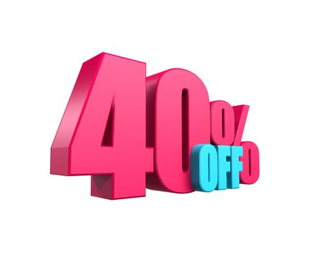 Bright pink, voluminous 3D inscription: 40% OFF, isolated on white background. Element for design discounts, design, sales, web. 3d render
