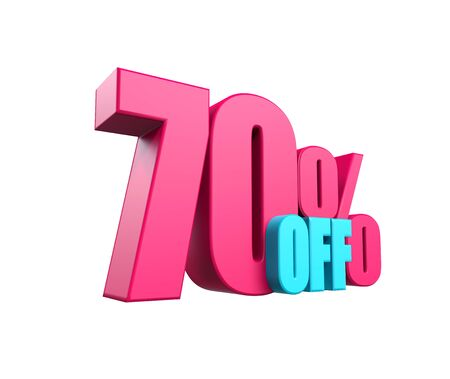 Bright pink, voluminous 3D inscription: 70% OFF, isolated on white background. Element for design discounts, design, sales, web. 3d render