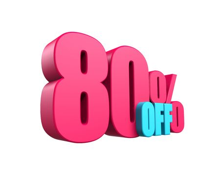 Bright pink, voluminous 3D inscription: 60% OFF, isolated on white background. Element for design discounts, design, sales, web. 3d render Zdjęcie Seryjne