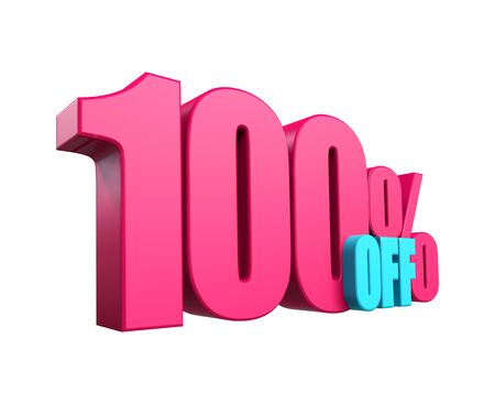 Bright pink, voluminous 3D inscription: 100% OFF, isolated on white background. Element for design discounts, design, sales, web. 3d render