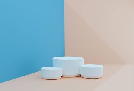 Peach-blue minimal scene , podiumfor cosmetic product presentation. Abstract background with geometric podium platform in pastel colors. Template for design, presentation, advertisement.3d Illustration. Render