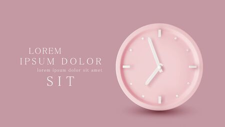 Vector illustration. Pink watch dial with white hands. Isolation on a pink background. Minimalistic pastel template for web site design, flyer, card, banner, advertisement. Ilustracja