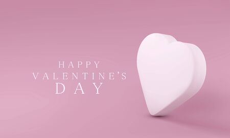 Vector greeting card with a delicate, white, 3D heart on a pink background. Template for design.