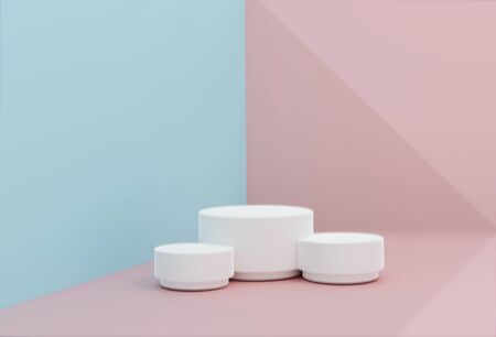 Pink-blue minimal scene , podiumfor cosmetic product presentation. Abstract background with geometric podium platform in pastel colors. Template for design, presentation, advertisement.3d Illustration. Render