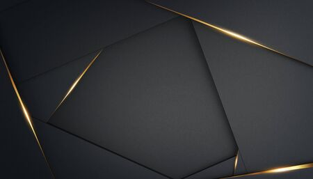 Abstract, luxurious polygonal black background with gold accents. Frame for text. 3d render. Template for design, banner. Zdjęcie Seryjne