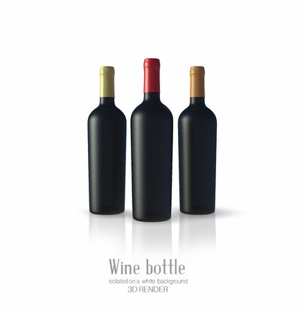 Three  bottle of wine made of black matte glass on a white background. Alcohol close-up. Soft glares. 3d render. Template for design, advertising, branding. Zdjęcie Seryjne