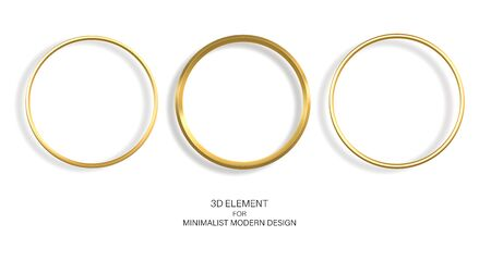 Golden rings isolated on a white background. Elements for design, decoration. Set of gold frames.