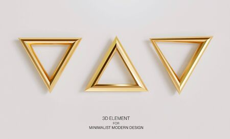 Set of golden triangles isolated on a light background. Realistic 3d element for decor, minimalistic modern design.