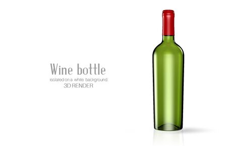 A bottle of wine made of green glass on a white background. Alcohol close-up. Soft glares. 3d render. Template for design, advertising, branding.
