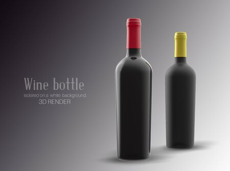 Three  bottle of wine made of black matte glass isolated. Alcohol close-up. Soft glares. 3d render. Template for design, advertising, branding.