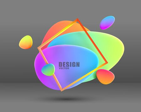 Vector  abstract modern geometric graphic element, banners. Colored, bright , flowing, 3D volumetric shapes. Template for the design.