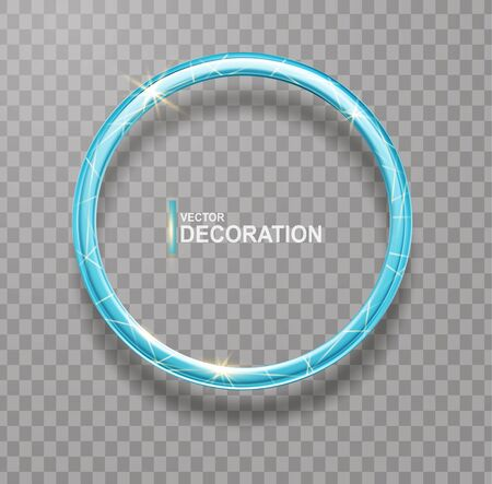 Vector shining  blue ring. Abstract  glowing round frame  isolated on transparent background.  Luxury blue ring with light effects.  Volumetric element for design.