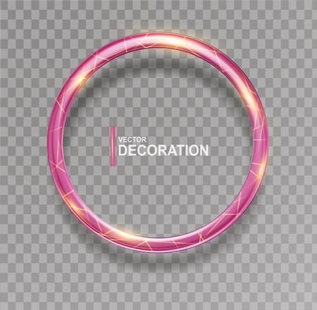 Vector shining  pink ring. Abstract  glowing round frame  isolated on transparent background.Luxury pink ring with light effects.  Volumetric element for design.