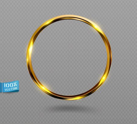 Vector shining golden ring. Abstract gold glowing round frame  isolated on transparent background.  Luxury golden ring with light effects.  Volumetric element for design.