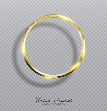 Vector shining golden ring. Abstract gold glowing round frame  isolated on transparent background.  Luxury golden ring with light effects.  Volumetric element for design Ilustracja
