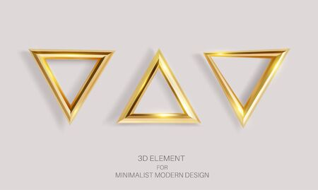 Vector set of golden triangles isolated on a light background. Realistic 3d element for decor, minimalistic modern design. Ilustracja