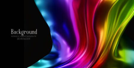 Rainbow color silk fabric isolated on black background. Abstract 3d illustration