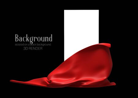 Vertical white stand with red cloth underneath isolated on a dark background. Banner, template for presentation, advertising. 3d illustration Zdjęcie Seryjne