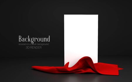 Vertical white stand with red cloth at the bottom on a dark background. Banner, template for presentation, advertising. 3d illustration Zdjęcie Seryjne