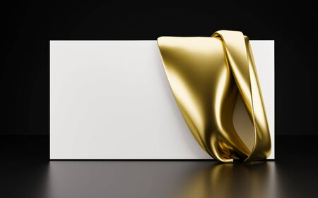 Horizontal white card with a drapery of gold fabric. 3d illustration. Template for presentation, advertising. Render
