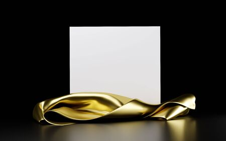 Square white stand with golden cloth isolated on a black background. Banner, template for presentation, advertising. 3d illustration