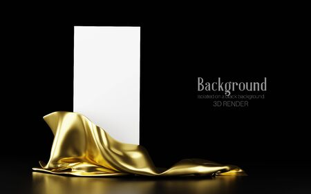 Vertical white stand with golden cloth with reflection isolated on a black background. Banner, template for presentation, advertising. 3d illustration