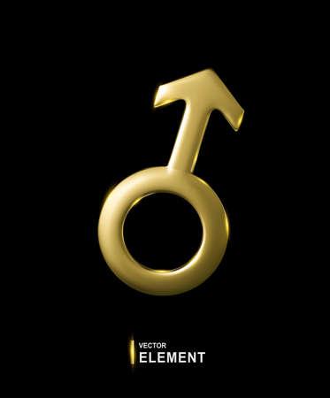 Vector Golden Sign of Mars isolated on black background. 3d illustration. Male astrological symbol. Element for design.