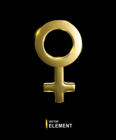 Vector Golden Venus Sign isolated on black background. 3d illustration. Female astrological symbol. Element for design. Zdjęcie Seryjne - 151132099