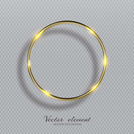 Vector shining golden ring. Abstract gold glowing round frame isolated on transparent background. Luxury golden ring with light effects. Volumetric element for design