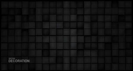 Verctor abstract 3d illustration. Black blocks on a black background. Zdjęcie Seryjne - 150985910