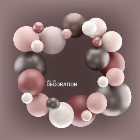 Vector abstract background with 3d spheres. Frame with balloons in pastel color. Element for design, banner.