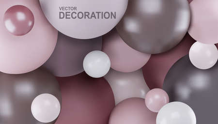 Vector abstract background with 3d spheres. Balls are pastel color. Modern element for design, banner.
