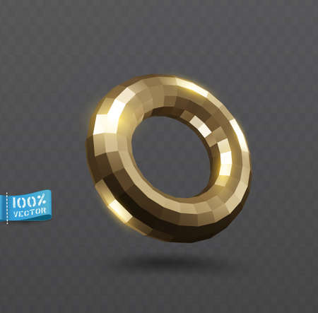 Vector shining gold torus. Abstract gold glowing round frame isolated on transparent background. Luxury golden torus with light effects. Volumetric element for design. Zdjęcie Seryjne - 151443038