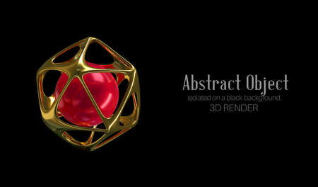 3d illustration. Golden abstract object isolated on a black background. 3d render. Element for design, advertising.