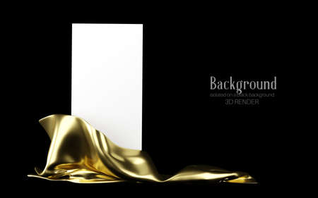 Vertical white stand with golden cloth isolated on a black background. Banner, template for presentation, advertising. 3d illustration