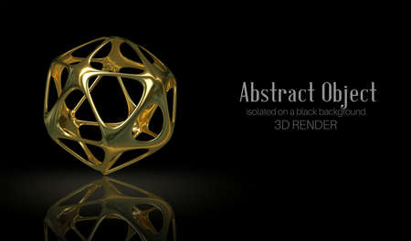 3d illustration. Golden abstract object isolated on a black background. 3d render. Element for design, advertising. Zdjęcie Seryjne - 151443808
