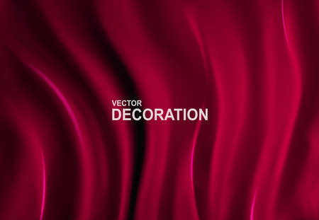 Luxurious Red silk fabric background. Abstract, Realistic, 3D Vector illustration. Decorative backdrop with soft waves of satin drapery. Template for design, poster, banner. Ilustracja