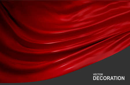 Red silk fabric isolated on gray background. Abstract, Realistic, 3D Vector illustration.Luxurious decorative backdrop with soft waves of satin drapery. Template for design, poster, banner.