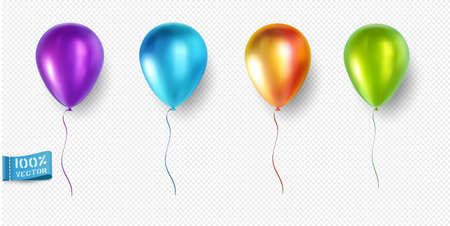 Set of realistic vector balloons isolated on light background. Purple. Blue. Orange. Green. Element for design. Ilustracja
