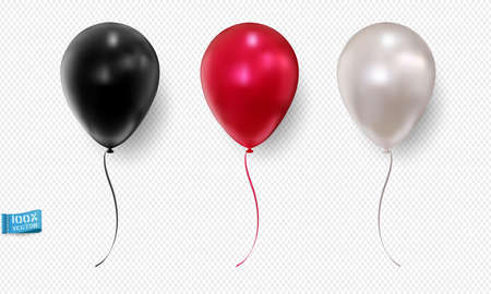 Set of realistic vector balloons isolated on light background. Red. White. The black. Element for design. Ilustracja