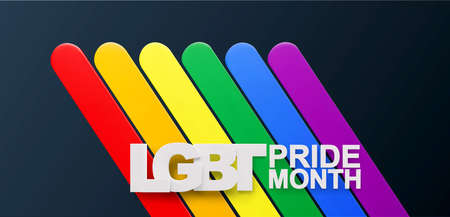 Vector horizontal banner with volumetric text LGBT Pride Month. Lesbian Gay Bisexual Transgender. Rainbow love concept with LGBT flag on the dark background. Celebrated annual human rights and tolerance. Element for poster, card.
