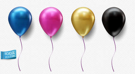 Set of realistic vector balloons isolated on light background. Blue. Pink. Gold. The black. Element for design.