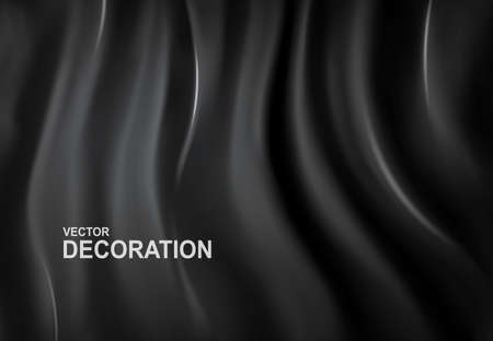 Realistic, 3D Vector illustration. Luxurious black silk fabric background. Abstract, Decorative backdrop with soft waves of satin drapery. Template for design, poster, banner. Ilustracja