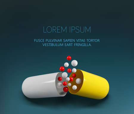 Vector medical template. Opened yellow capsule isolated on dark background. Element for design. Realistic illustration. 3d