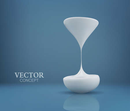 Vector concept. Flowing milk in the form of an hourglass on a blue background. Template for design.